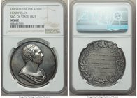 """Henry Clay Secretary of State 1825"" political silver Medal ND MS62 NGC, 42mm.  HID09801242017"