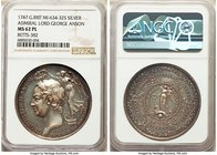 """Admiral Lord George Anson"" silver Medal 1747 MS62 Prooflike NGC, Betts-382, MI-634/325. 43mm.   HID09801242017"