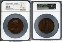 """Major General Jacob Brown"" bronze Medal ND MS66 Brown NGC, Julian-MI-11. 65mm. By Moritz Furst. Pleasing mahogany surfaces with satin texture.  HID09..."