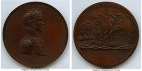 """Master Commandant Oliver H. Perry"" bronzed-copper Medal 1813 UNC, Julian-NA-19. 65mm. 121.50gm. By Moritz Furst.  HID09801242017"