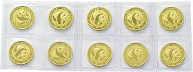 China; Panda 1/10oz Gold 10 Yuan 10-Pieces Original Sheet. 1983. . UNC. 3.11g. 0.999. 18.00mm. KM69