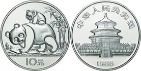 China; Panda Silver Proof 10 Yuan. 1985. . Proof. 27.00g. 0.9. 38.60mm. KM114 w/o Cert