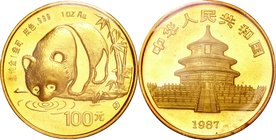 China; Panda 1oz Gold 100 Yuan. 1987. . UNC. 31.10g. 0.999. 32.00mm. KM166