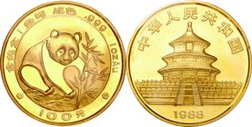 China; Panda 1oz Gold 100 Yuan. 1988. . UNC. 31.00g. 0.999. 32.00mm. KM187