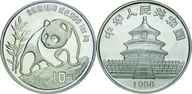 China; Panda Silver 10 Yuan. 1990. PCGS MS68 Large Date 上海. FDC. 31.10g. 0.999. 40.00mm. KM276