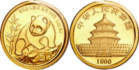 China; Panda 1/20oz Gold 5 Yuan. 1990. . UNC. 1.56g. 0.999. 14.00mm. KM268