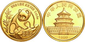 China; Panda 1/4oz Gold 25 Yuan. 1990. . UNC. 7.78g. 0.999. 22.00mm. KM270