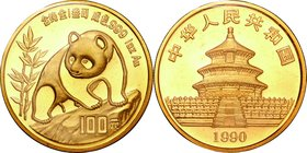 China; Panda 1oz Gold 100 Yuan. 1990. . UNC. 31.10g. 0.999. 32.00mm. KM272