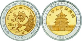 China; Panda Bi-Metallic Gold and Silver Proof 25 Yuan. 1991. . Proof. AU 7.77g AG 3.88g. . 30.00mm. KM348