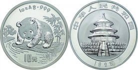 China; Panda Silver Proof 10 Yuan. 1995. . Proof. 31.10g. 0.999. 40.00mm. KM723