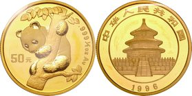 China; Panda 1/2oz Gold 50 Yuan. 1996. . UNC. 15.55g. 0.999. 27.00mm. KM886