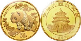 China; Panda 1/2oz Gold 50 Yuan. 1997. . UNC. 15.55g. 0.999. 27.00mm. KM990