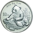 China; Panda Silver 10 Yuan. 1998. PCGS MS68 Small Date 上海. FDC. 31.10g. 0.999. 40.00mm. KM1126