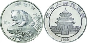 China; Panda Silver 10 Yuan. 1999. . UNC. 31.10g. 0.999. 40.00mm. KM1216