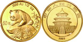 China; Panda 1/2oz Gold 50 Yuan. 1999. . UNC. 15.55g. 0.999. 27.00mm. KM1220