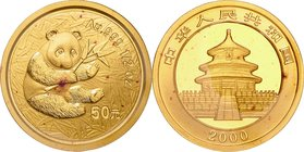China; Panda 1/2oz Gold 50 Yuan. 2000. . UNC. 15.55g. 0.999. 27.00mm. KM1306