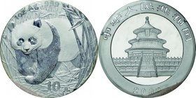China; Panda Silver 10 Yuan. 2002. . UNC. 31.10g. 0.999. 40.00mm. KM1365