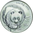 China; Panda Silver 10 Yuan. 2003. PCGS MS69 Frosted. FDC. 31.10g. 0.999. 40.00mm. KM1466