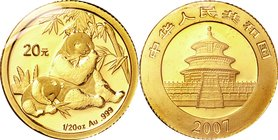 China; Panda 1/20oz Gold 20 Yuan. 2007. . UNC. 1.56g. 0.999. 14.00mm. KM1707