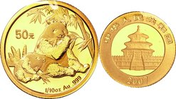 China; Panda 1/10oz Gold 50 Yuan. 2007. . UNC. 3.10g. 0.999. 18.00mm. KM1709