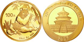 China; Panda 1/4oz Gold 100 Yuan. 2007. . UNC. 7.77g. 0.999. 22.00mm. KM1710