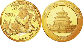 China; Panda 1/2oz Gold 200 Yuan. 2007. . UNC. 15.55g. 0.999. 27.00mm. KM1711
