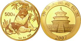 China; Panda 1oz Gold 500 Yuan. 2007. . UNC. 31.10g. 0.999. 32.00mm. KM1713