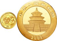 China; Panda 1/20oz Gold 20 Yuan. 2008. . UNC. 1.56g. 0.999. 14.00mm. KM1815