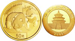 China; Panda 1/10oz Gold 50 Yuan. 2008. . UNC. 3.10g. 0.999. 18.00mm. KM1816