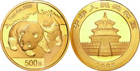 China; Panda 1oz Gold 500 Yuan. 2008. . UNC. 31.10g. 0.999. 32.00mm. KM1821