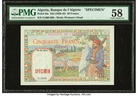 Algeria Banque de l'Algerie 50 Francs ND (1938-42) Pick 84s Specimen PMG Choice About Unc 58. Previously mounted; minor repairs.  HID09801242017