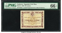 Andorra Consell General de les Valls D'Andorra 50 Centims 19.12.1936 Pick 5 PMG Gem Uncirculated 66 EPQ.   HID09801242017
