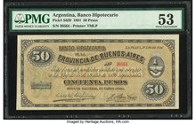 Argentina Banco Hipotecario 50 Pesos 14.7.1891 Pick S620 PMG About Uncirculated 53. Pinholes.  HID09801242017