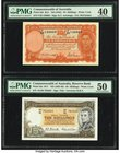 Australia Commonwealth Bank of Australia; Reserve Bank 10 Shillings ND (1942); ND (1961-65) Pick 25b; 33a R13; R17 Two Examples PMG Extremely Fine 40;...