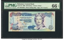 Bahamas Central Bank 100 Dollars 2000 Pick 67 PMG Gem Uncirculated 66 EPQ.   HID09801242017