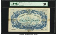 Belgium Banque Nationale de Belgique 500 Francs 16.2.1921 Pick 72b PMG Very Fine 20. Tape repairs.  HID09801242017