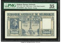 Belgium Nationale Bank Van Belgie 1000 Francs 21.11.1944 Pick 128a PMG Choice Very Fine 35. Staple holes.  HID09801242017