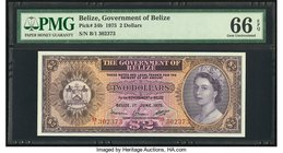 Belize Government of Belize 2 Dollars 1.6.1975 Pick 34b PMG Gem Uncirculated 66 EPQ.   HID09801242017
