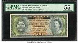 Belize Government of Belize 10 Dollars 1.1.1976 Pick 36c PMG About Uncirculated 55. Pinholes.  HID09801242017