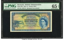 Bermuda Bermuda Government 1 Pound 20.10.1952 Pick 20a PMG Gem Uncirculated 65 EPQ.   HID09801242017