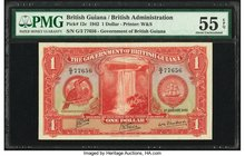 British Guiana Government of British Guiana 1 Dollar 1.1.1942 Pick 12c PMG About Uncirculated 55 EPQ.   HID09801242017