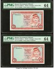 Brunei Government of Brunei 10 Ringgit 1986 Pick 8b KNB8 Two Consecutive Examples PMG Choice Uncirculated 64.   HID09801242017