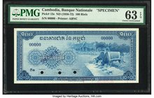 Cambodia Banque Nationale du Cambodge 100 Riels ND (1956-72) Pick 13s Specimen PMG Choice Uncirculated 63 EPQ. Two POCs; printer's stamp.  HID09801242...