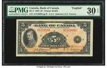 Canada Bank of Canada $5 1935 BC-5 PMG Very Fine 30 EPQ.   HID09801242017