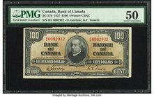 Canada Bank of Canada $100 2.1.1937 BC-27b PMG About Uncirculated 50. Edge damage.  HID09801242017