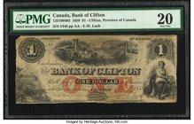 Canada Clifton, PC- Bank of Clifton $1 1.10.1859 Ch.# 125-10-04-02 PMG Very Fine 20. Corner repair; previously mounted.  HID09801242017