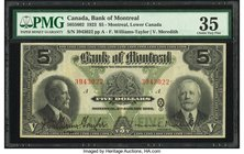 Canada Montreal PQ- Bank of Montreal $5 2.1.1923 CH.# 505-56-02 PMG Choice Very Fine 35.   HID09801242017