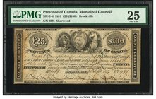Canada Brockville, ON- United Counties of Leeds and Grenville 25 Pounds ($100) 25.9.1857 Ch.# MU-1-ii PMG Very Fine 25. Pen cancelled; contemporary an...