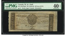 Canada W & J Bell, Perth, Upper Canada 30 Pence ($1/2) ND (1838-39) ON10-10-10bR Remainder PMG Extremely Fine 40 EPQ.   HID09801242017