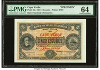 Cape Verde Banco Nacional Ultramarino 5 Escudos 1.1.1921 Pick 34s Specimen PMG Choice Uncirculated 64. Previously mounted.  HID09801242017
